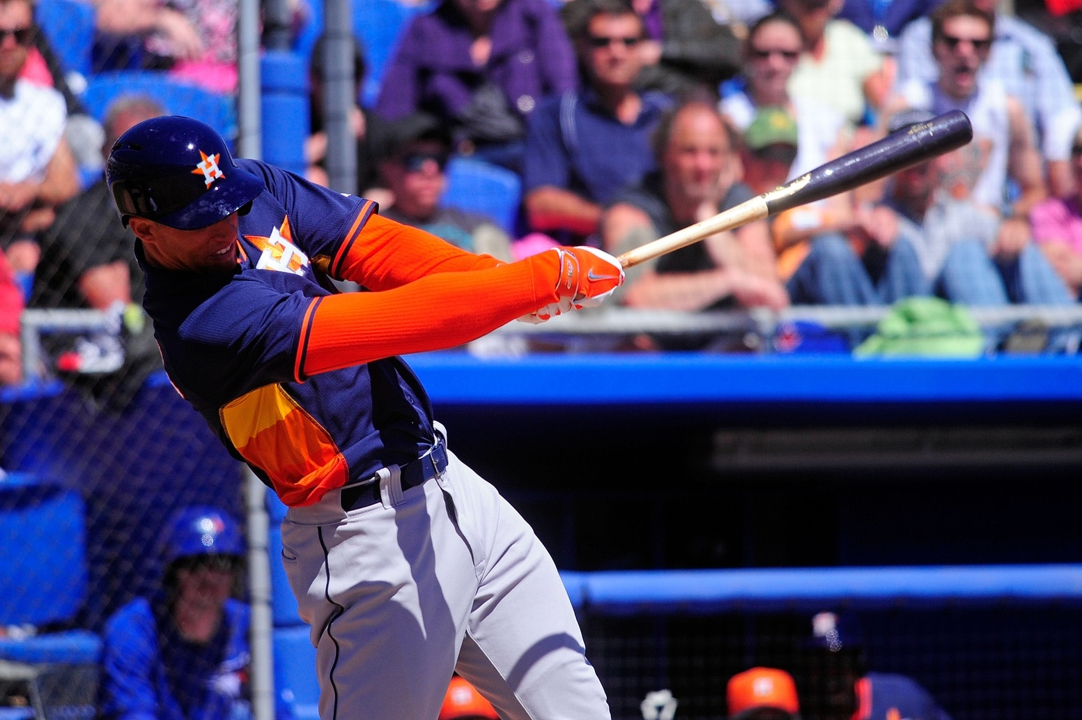 George Springer takes a hack in a Spring Training game. Photo from
