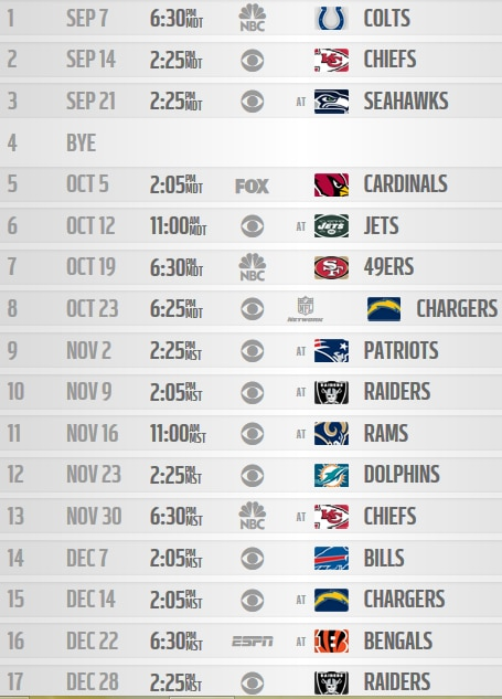 Breathtaking image within denver broncos printable schedule