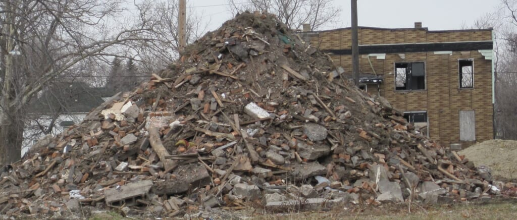 A neighborhood in Detroit overrun by debris and abandoned by citizens.