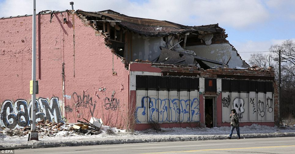 Courtesy of the Daily Mail: The decay is obvious when you drive through some of the abandoned neighborhoods in Detroit.