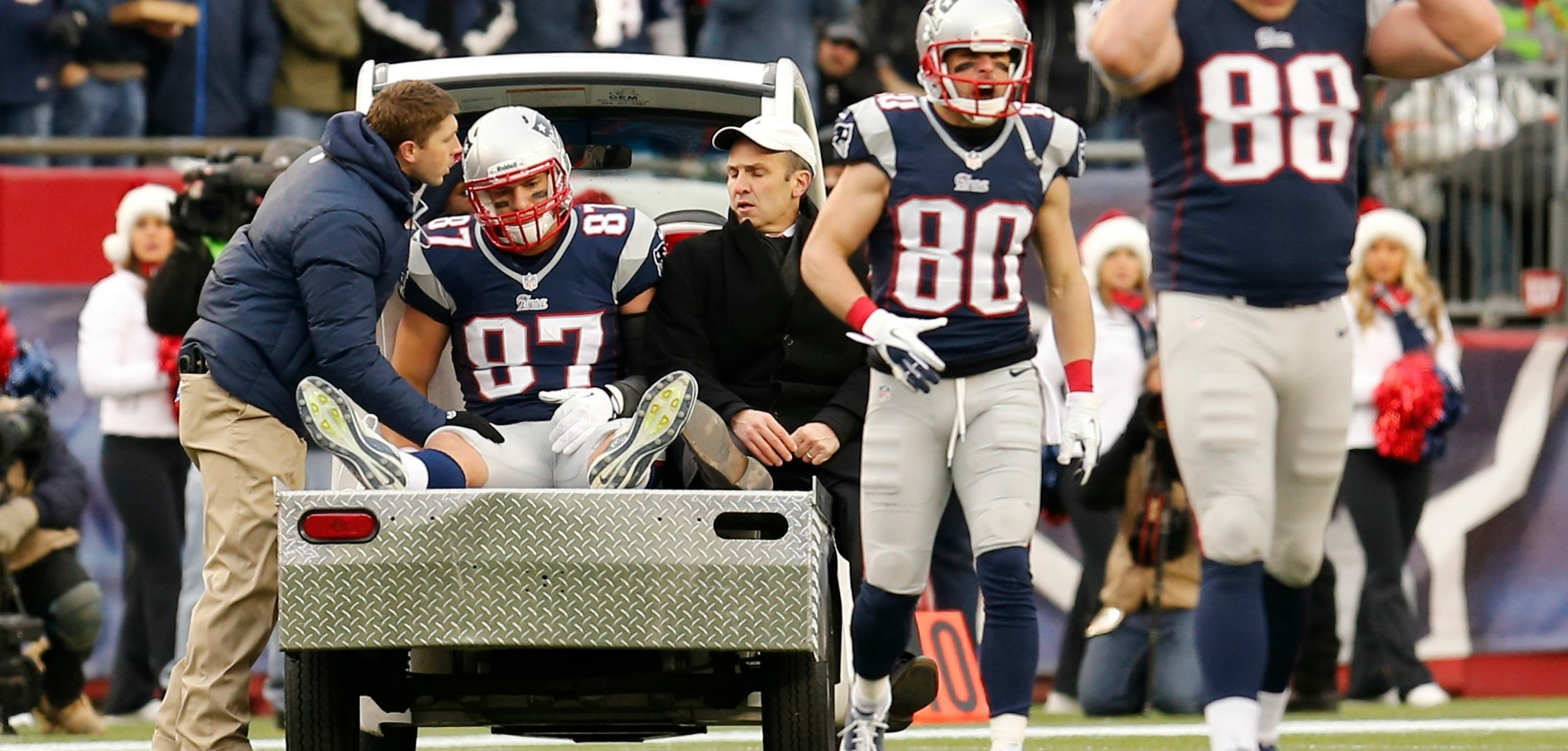 Courtesy of Boston.com: New England Gronkowski to stay off the cart and on the field.