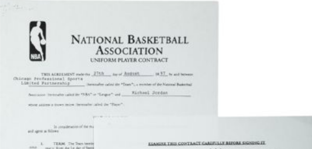 Michael jordan 39 s 33 million contract goes to auction for B b contract