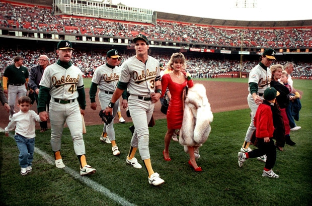 Jose Canseco and his A's teammates leave the field following the earthquake.