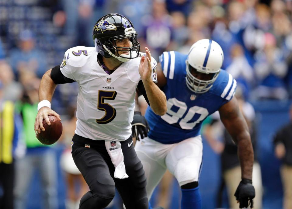 Courtesy of Colts.com: Without a running game, Joe Flacco appears lost.
