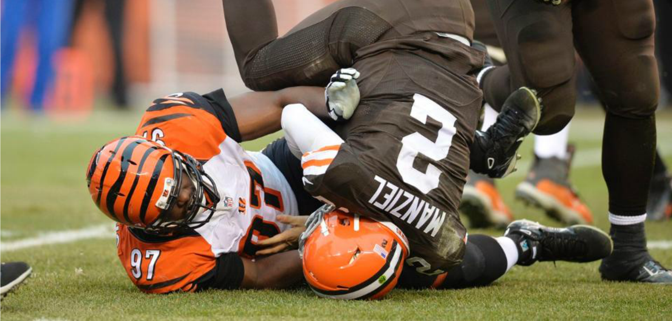 Courtesy of Bengals.com: Manziel wasn't quite ready for what the Bengals had in store for him.