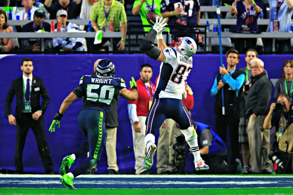USA Today Images — Patriots tight end Rob Gronkowski scores a touchdown against the Seahawks in Super Bowl XLIX