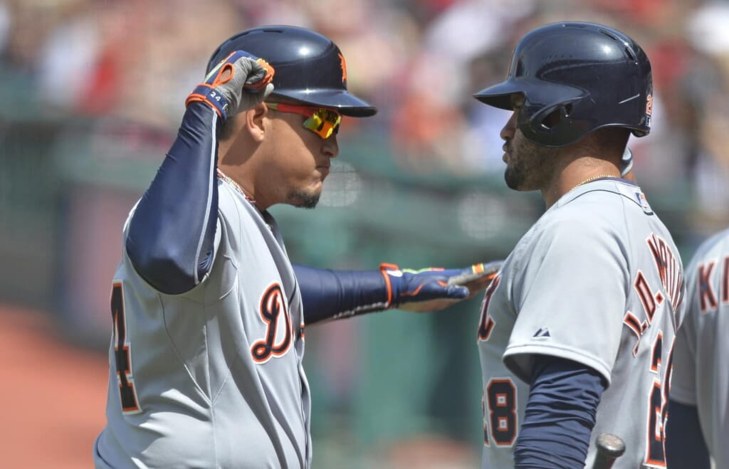 Detroit Tigers first baseman Miguel Cabrera (L) celebrates with right fielder J.D. Martinez (28) after a two-run home run.  David Richard-USA TODAY Sports