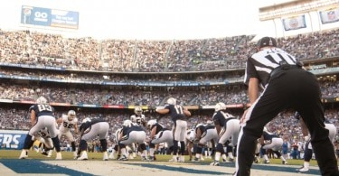 Nov 16, 2014; San Diego, CA, USA; The San Diego Chargers offense and Oakland Raiders defense during the Chargers 13-6 win over the Raiders at Qualcomm Stadium. Mandatory Credit: Stan Liu-USA TODAY Sports