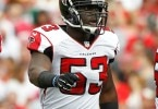 Nov 9, 2014; Tampa, FL, USA; Atlanta Falcons linebacker Prince Shembo (53) against the Tampa Bay Buccaneers during the second quarter at Raymond James Stadium. Mandatory Credit: Kim Klement-USA TODAY Sports