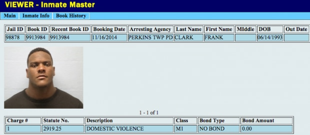 Courtesy of Michigandaily.com: Clark's arrest record from November.