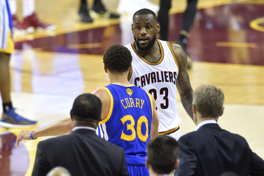 Courtesy of USA Today Sports: James congratulating the Warriors bench during Game 6 of the Finals.