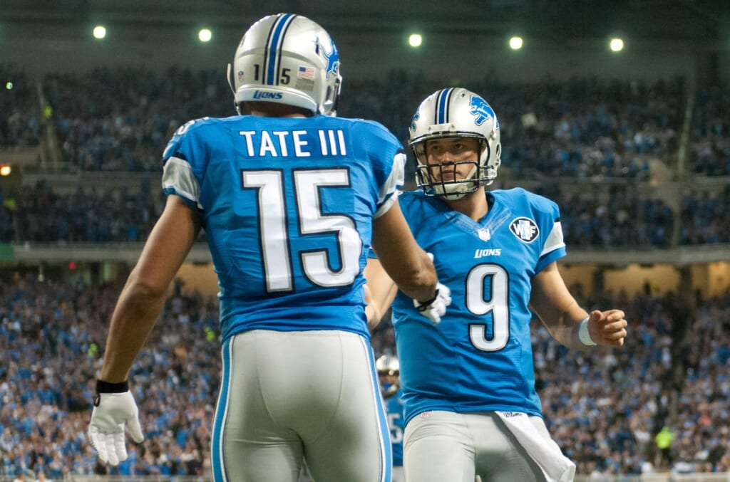 Courtesy of USA Today Sports: Tate immediately gelled with Matthew Stafford in his first season with the Lions.