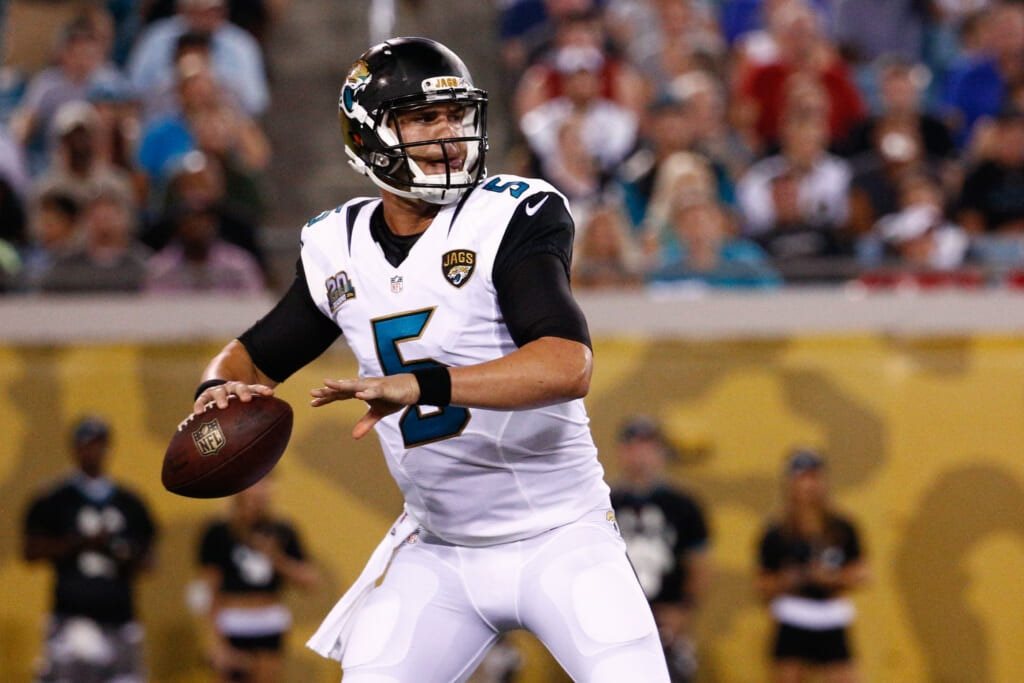 JACKSONVILLE, FL - AUGUST 08: Blake Bortles #5 of the Jacksonville Jaguars plays during the preseason game against the Tampa Bay Buccaneers at Everbank Field on August 8, 2014 in Jacksonville, Florida.  (Photo by Rob Foldy/Getty Images)