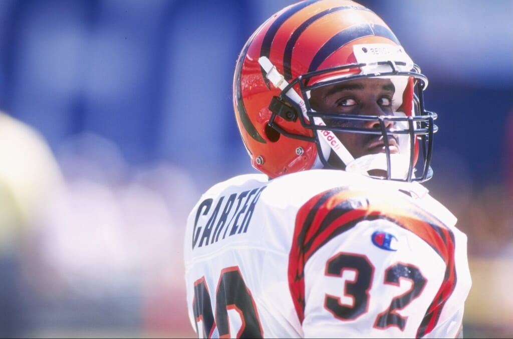 8 Sep 1996: Running back Ki-Jana Carter of the Cincinnati Bengals in action on the field as he looks back to the sideline to receive signals from coaches during the Bengals 27-14 loss to the San Diego Chargers at Jack Murphy Stadium in San Diego, Californ