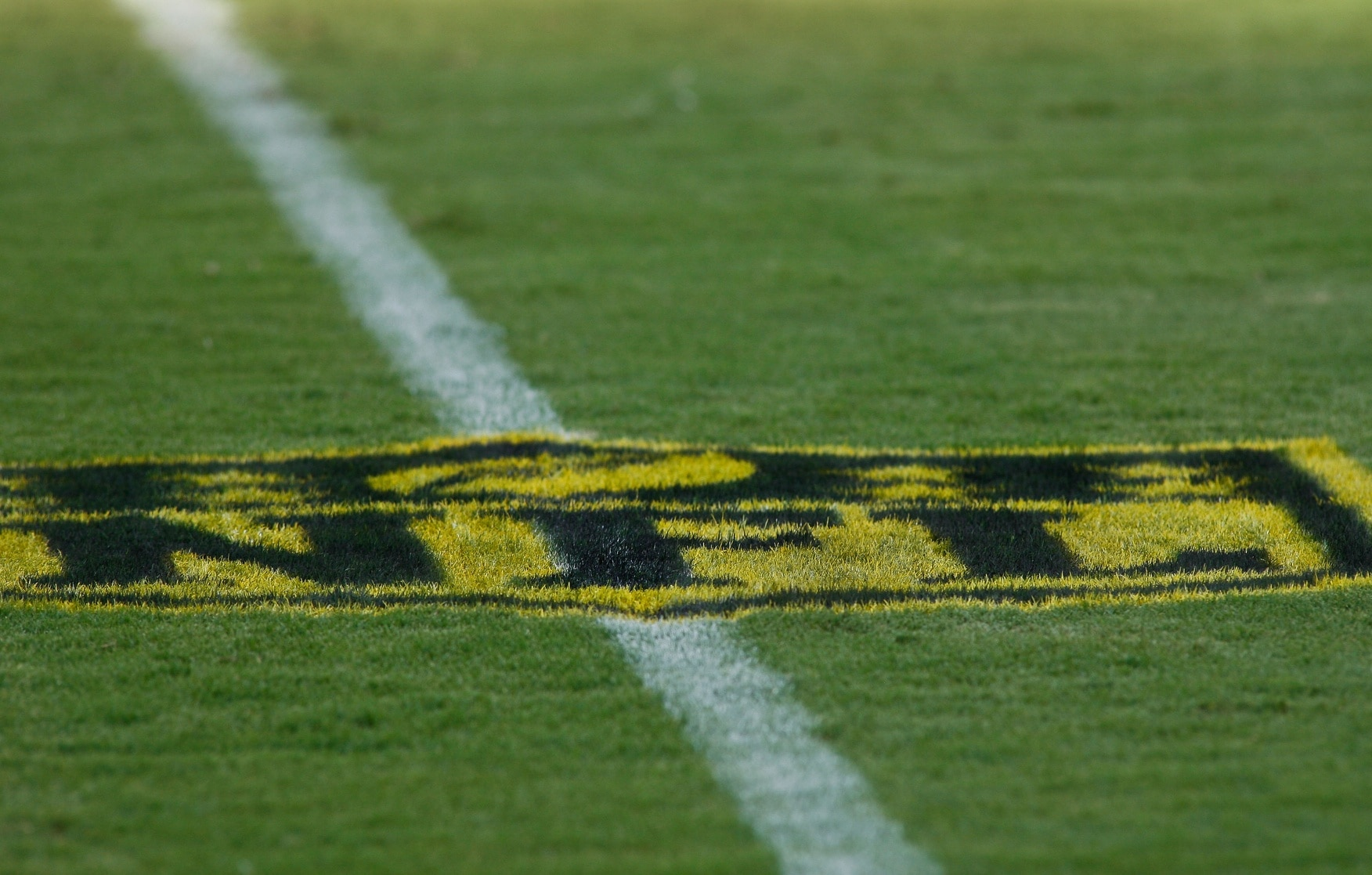 "Aug 14, 2015; Jacksonville, FL, USA; A gold-painted NFL logo on the field before the start of a preseason NFL football game between the Pittsburgh Steelers and the Jacksonville Jaguars at EverBank Field. The logo is part of the NFL's ""On the Fifty"" campaign, to promote Super Bowl 50 next February. The Jacksonville Jaguars won 23-21. Mandatory Credit: Phil Sears-USA TODAY Sports"