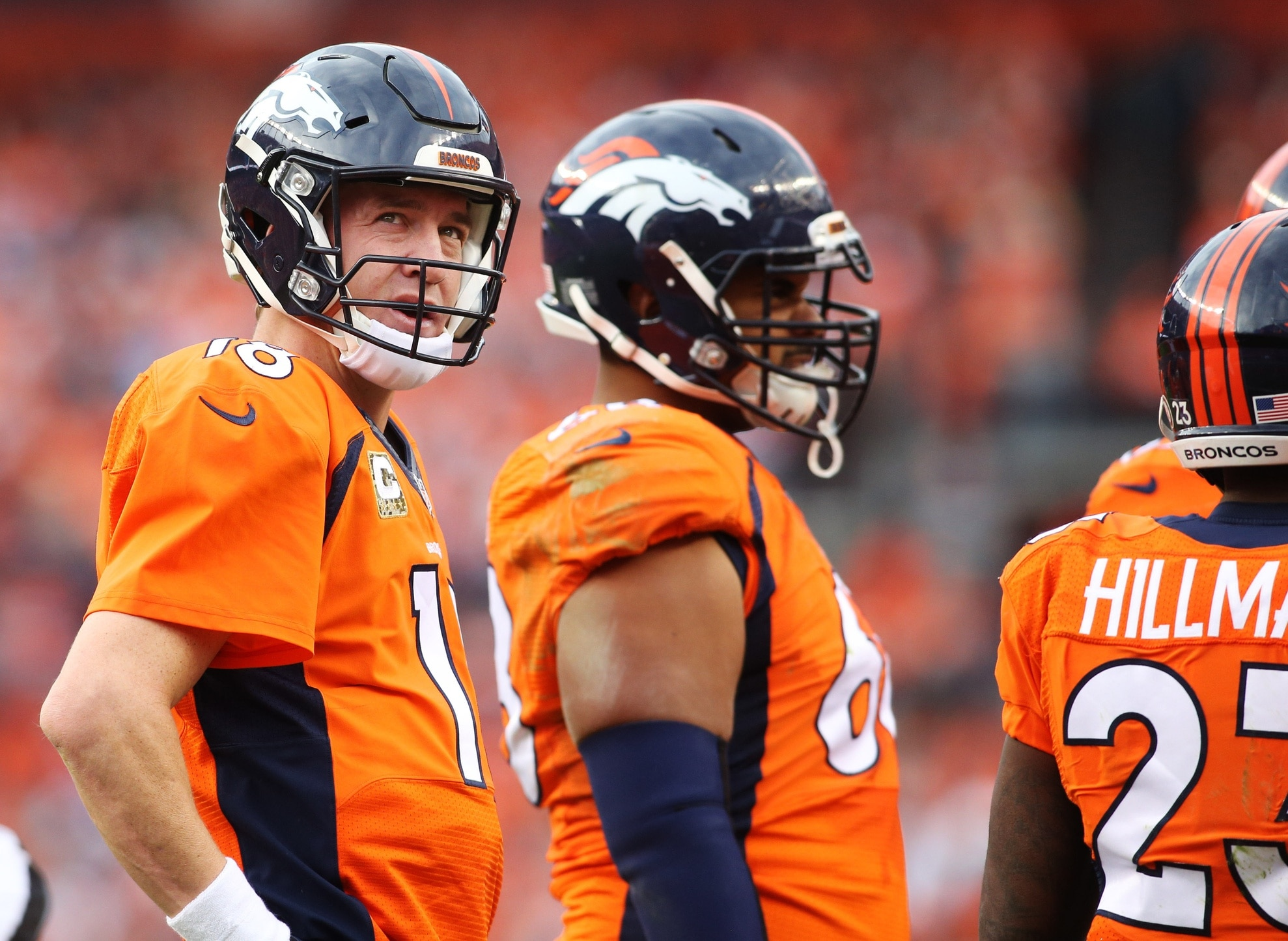 Nov 15, 2015; Denver, CO, USA; Denver Broncos quarterback Peyton Manning (18) looks on during the first half against the Kansas City Chiefs at Sports Authority Field at Mile High. Mandatory Credit: Chris Humphreys-USA TODAY Sports