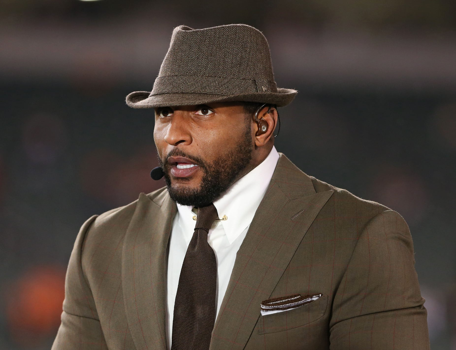 Nov 16, 2015; Cincinnati, OH, USA; ESPN broadcaster Ray Lewis on the Monday Night Football Set at Paul Brown Stadium. The Texans won 10-6. Mandatory Credit: Aaron Doster-USA TODAY Sports