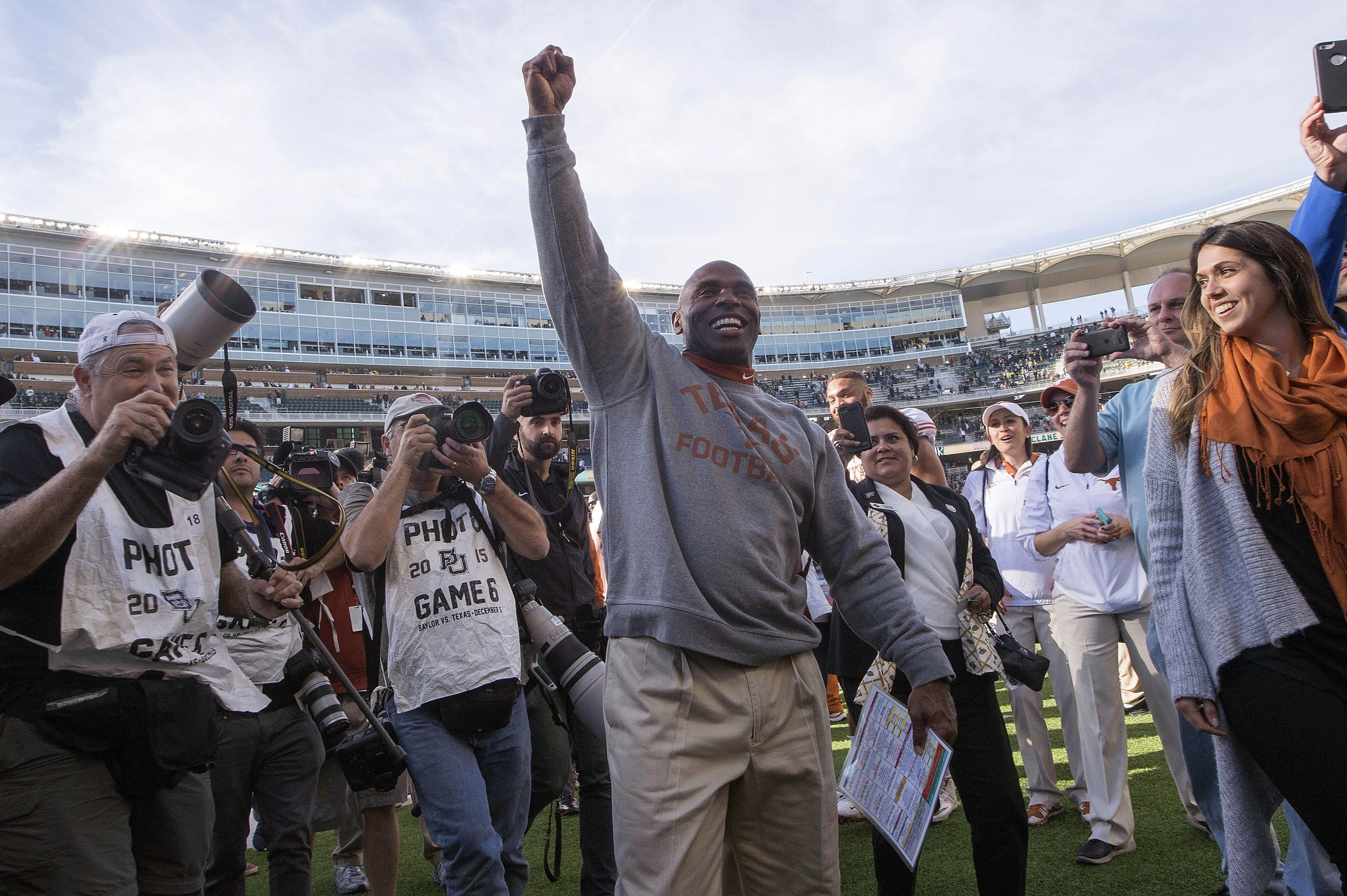 Dec 5, 2015; Waco, TX, USA; Texas Longhorns head coach Charlie Strong celebrates the win over the Baylor Bears at McLane Stadium. The Longhorns defeat the Bears 23-17. Mandatory Credit: Jerome Miron-USA TODAY Sports