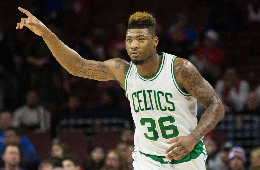 Jan 24, 2016; Philadelphia, PA, USA; Boston Celtics guard Marcus Smart (36) reacts to his score against the Philadelphia 76ers during the second quarter at Wells Fargo Center. Mandatory Credit: Bill Streicher-USA TODAY Sports