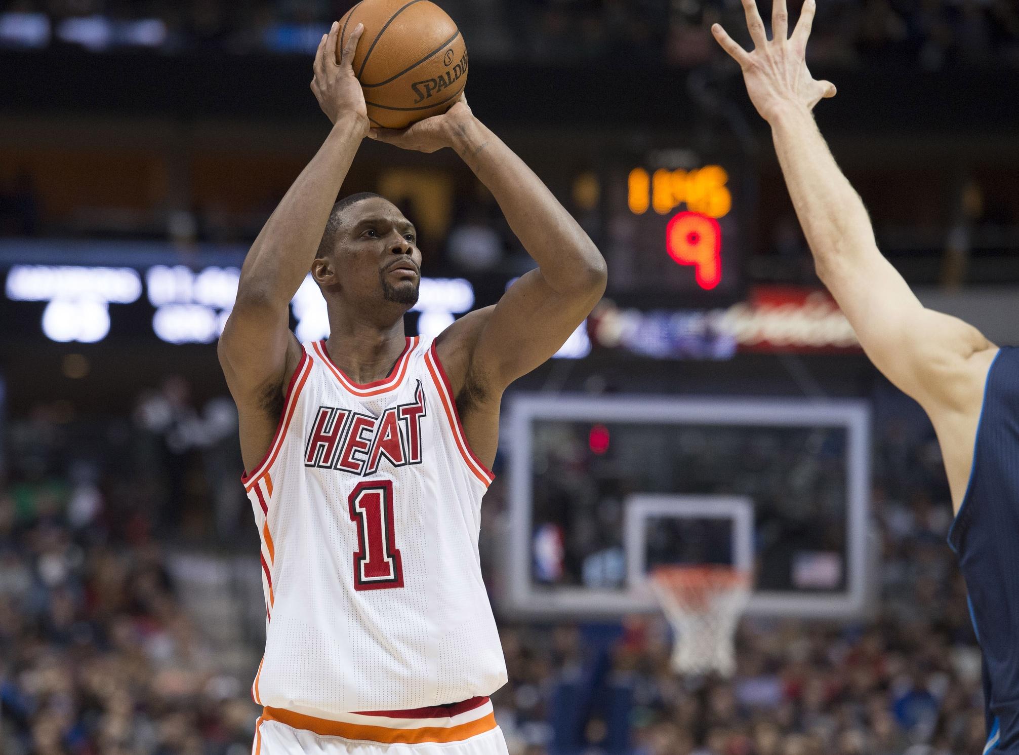 the best attitude 015c0 e5095 Pat Riley announces Heat will retire Chris Bosh's jersey