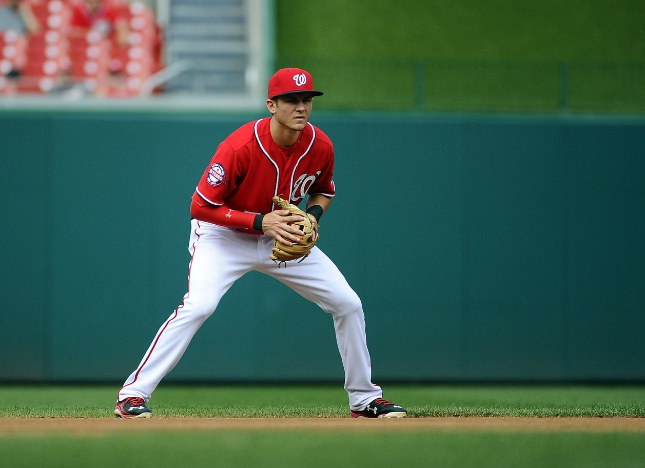 Sep 28, 2015; Washington, DC, USA; Washington Nationals shortstop Trea Turner (7) in the field against the Cincinnati Reds during the first inning at Nationals Park. Mandatory Credit: Brad Mills-USA TODAY Sports