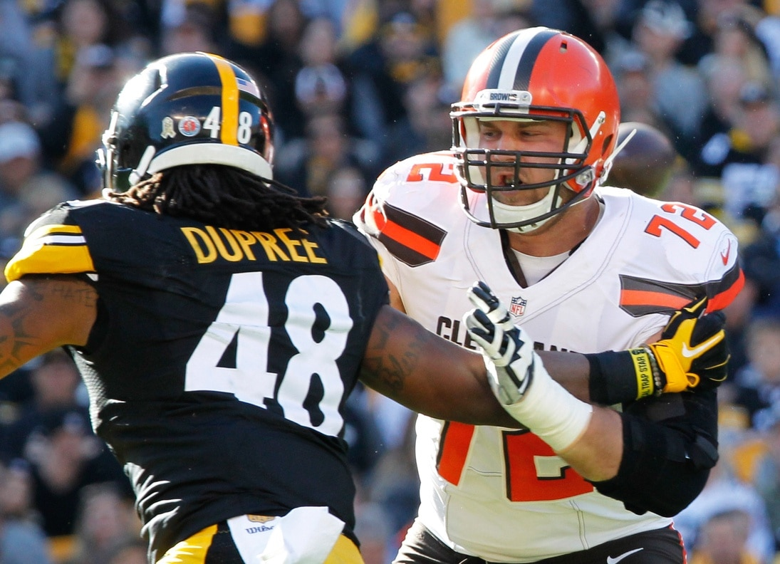 Nov 15, 2015; Pittsburgh, PA, USA; Cleveland Browns tackle Mitchell Schwartz (72) blocks at the line of scrimmage against Pittsburgh Steelers linebacker Bud Dupree (48) during the first quarter at Heinz Field. The Steelers won 30-9. Mandatory Credit: Charles LeClaire-USA TODAY Sports
