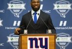 May 6, 2016; East Rutherford, NJ, USA; Justin Tuck retirement press conference during rookie minicamp at Quest Diagnostics Training Center. Mandatory Credit: William Hauser-USA TODAY Sports