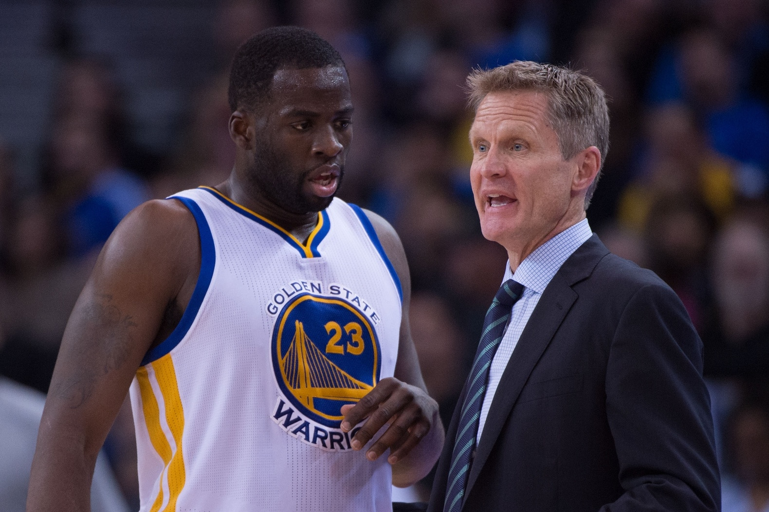 Steve Kerr and Draymond Green of the Golden State Warriors