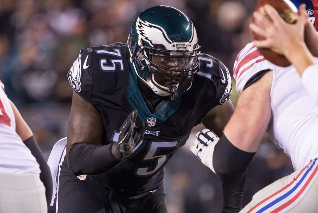 Oct 19, 2015; Philadelphia, PA, USA; Philadelphia Eagles defensive end Vinny Curry (75) in a game against the New York Giants at Lincoln Financial Field. The Eagles won 27-7. Mandatory Credit: Bill Streicher-USA TODAY Sports