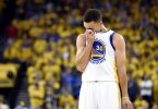 Jun 19, 2016; Oakland, CA, USA; Golden State Warriors guard Stephen Curry (30) reacts during the first quarter against the Cleveland Cavaliers in game seven of the NBA Finals at Oracle Arena. Mandatory Credit: Bob Donnan-USA TODAY Sports