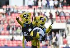 Oct 25, 2015; London, United Kingdom; Jacksonville Jaguars mascot Jaxson De Ville is lowered from the Wembley arch before the game between the Jacksonville Jaguars and the Buffalo Bills at Wembley Stadium. Mandatory Credit: Steve Flynn-USA TODAY Sports