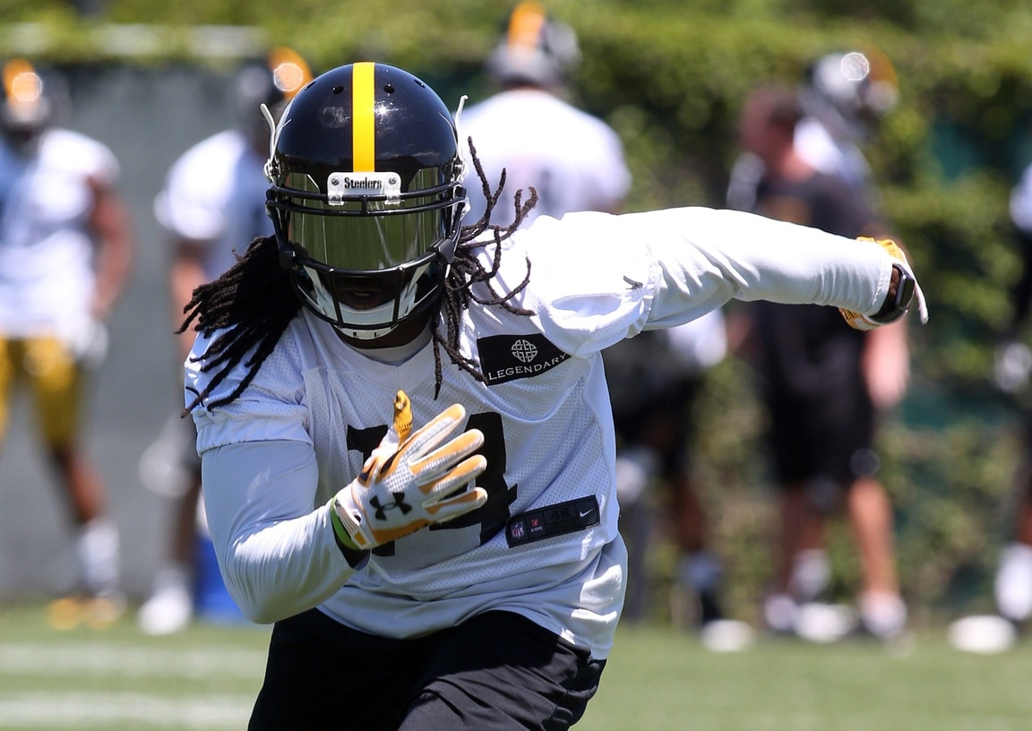 Jun 14, 2016; Pittsburgh, PA, USA; Pittsburgh Steelers wide receiver Sammie Coates (14) performs drills during mini-camp at the UPMC Rooney Sports Complex. Mandatory Credit: Charles LeClaire-USA TODAY Sports