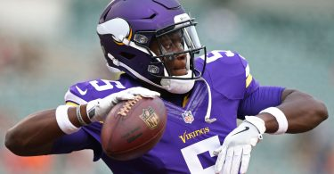 Aug 12, 2016; Cincinnati, OH, USA; Minnesota Vikings quarterback Teddy Bridgewater (5) warms up prior to the game against the Cincinnati Bengals, in a preseason NFL football game at Paul Brown Stadium. Mandatory Credit: Aaron Doster-USA TODAY Sports