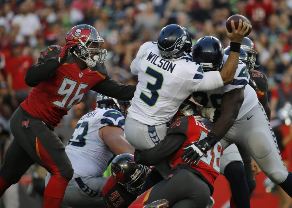 Russell Wilson gets sacked, a big problem for the Seahawks heading into training camp