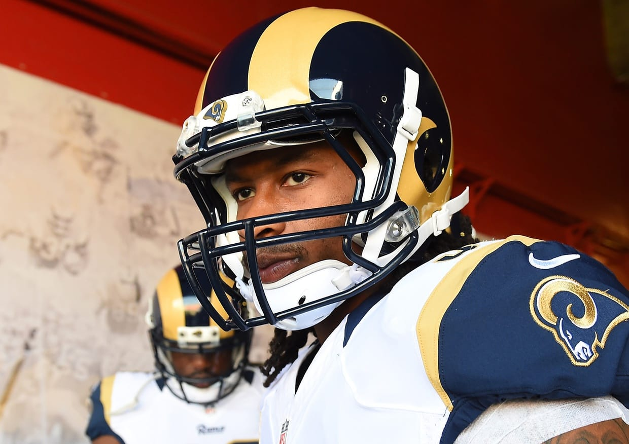 Nov 6, 2016; Los Angeles, CA, USA; Los Angeles Rams running back Todd Gurley (30) walks to the field prior to the game against the Carolina Panthers at the Los Angeles Memorial Coliseum. Mandatory Credit: Jayne Kamin-Oncea-USA TODAY Sports