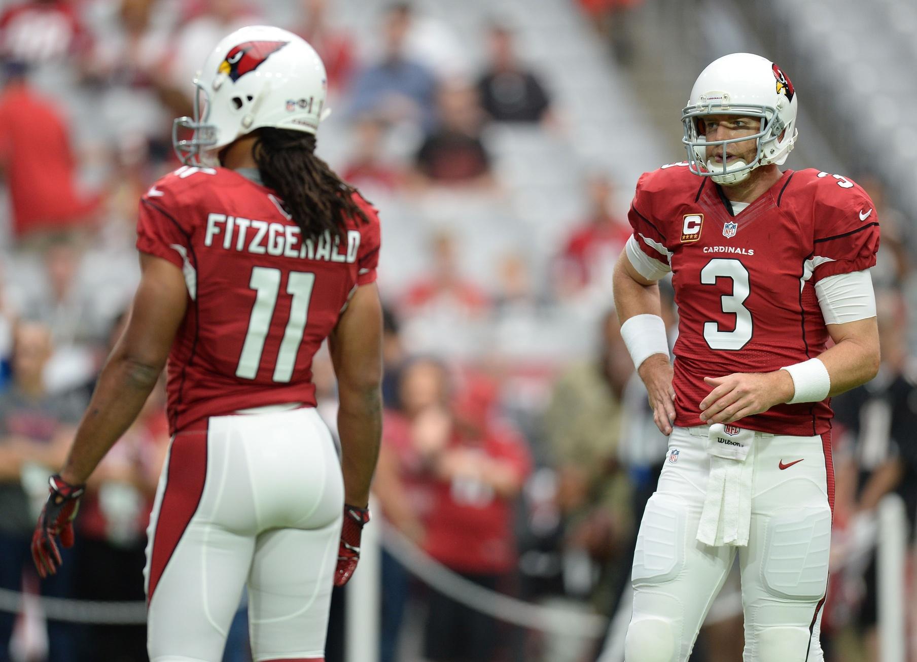 Cardinals receiver Larry Fitzgerald and quarterback Carson Palmer