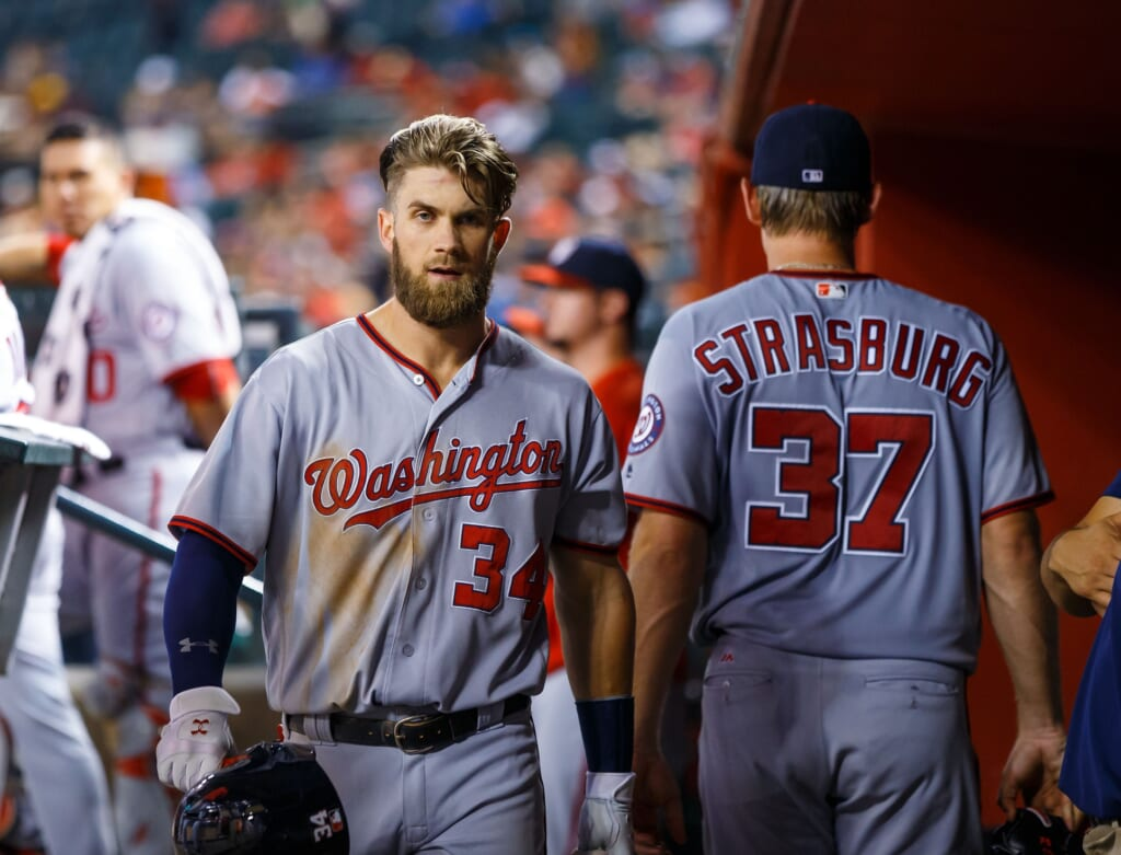 MLB, Aug 1, 2016; Phoenix, AZ, USA; Washington Nationals outfielder Bryce Harper (left) and pitcher Stephen Strasburg against the Arizona Diamondbacks at Chase Field. Mandatory Credit: Mark J. Rebilas-USA TODAY Sports