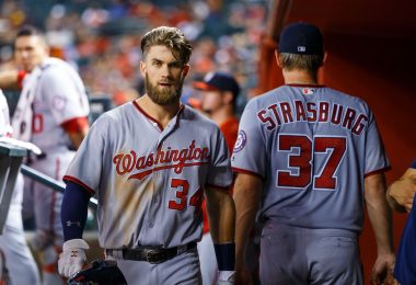 Aug 1, 2016; Phoenix, AZ, USA; Washington Nationals outfielder Bryce Harper (left) and pitcher Stephen Strasburg against the Arizona Diamondbacks at Chase Field. Mandatory Credit: Mark J. Rebilas-USA TODAY Sports