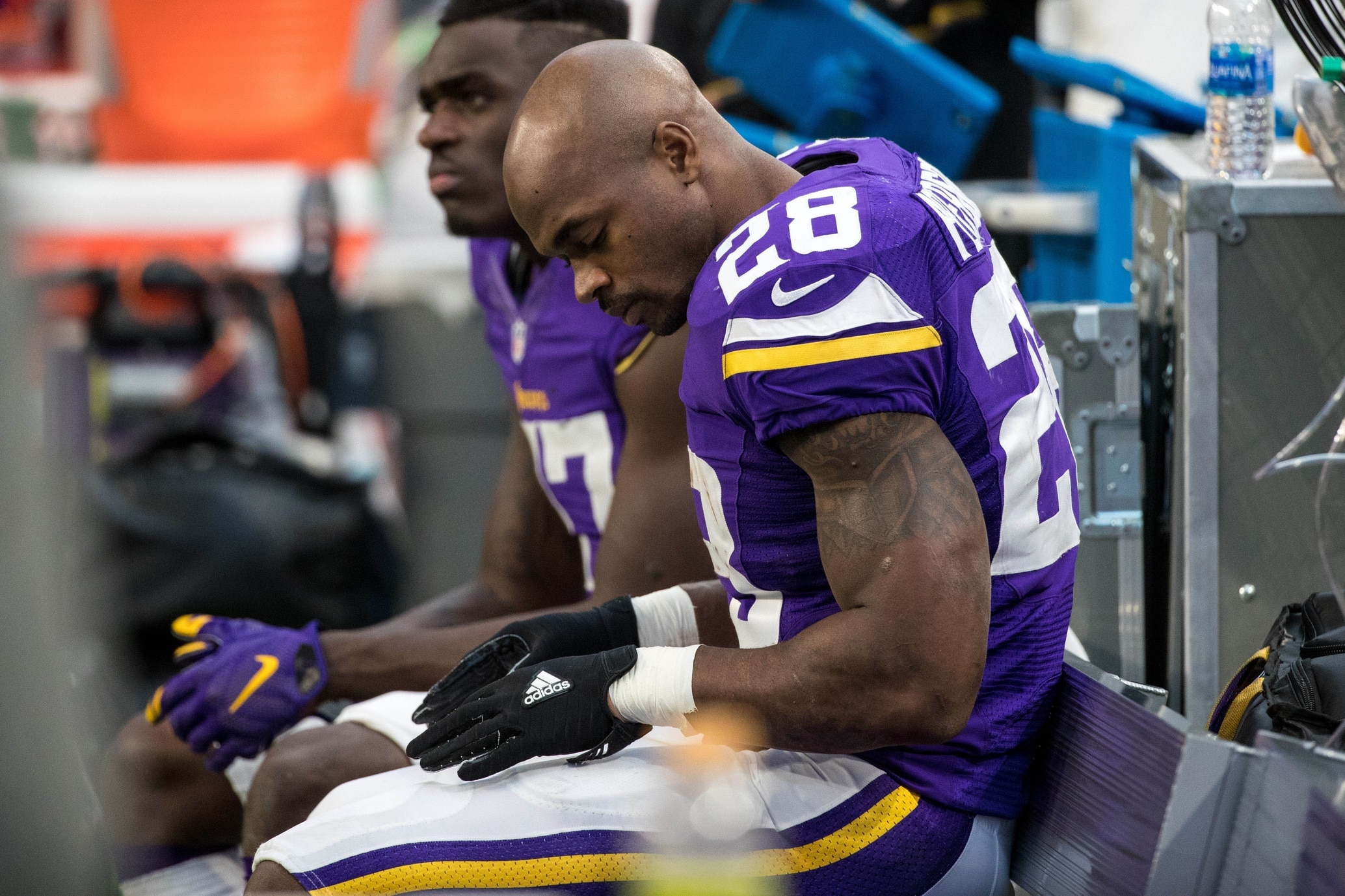 Dec 18, 2016; Minneapolis, MN, USA; Minnesota Vikings running back Adrian Peterson (28) looks on during the fourth quarter against the Indianapolis Colts at U.S. Bank Stadium. The Colts defeated the Vikings 34-6. Mandatory Credit: Brace Hemmelgarn-USA TODAY Sports