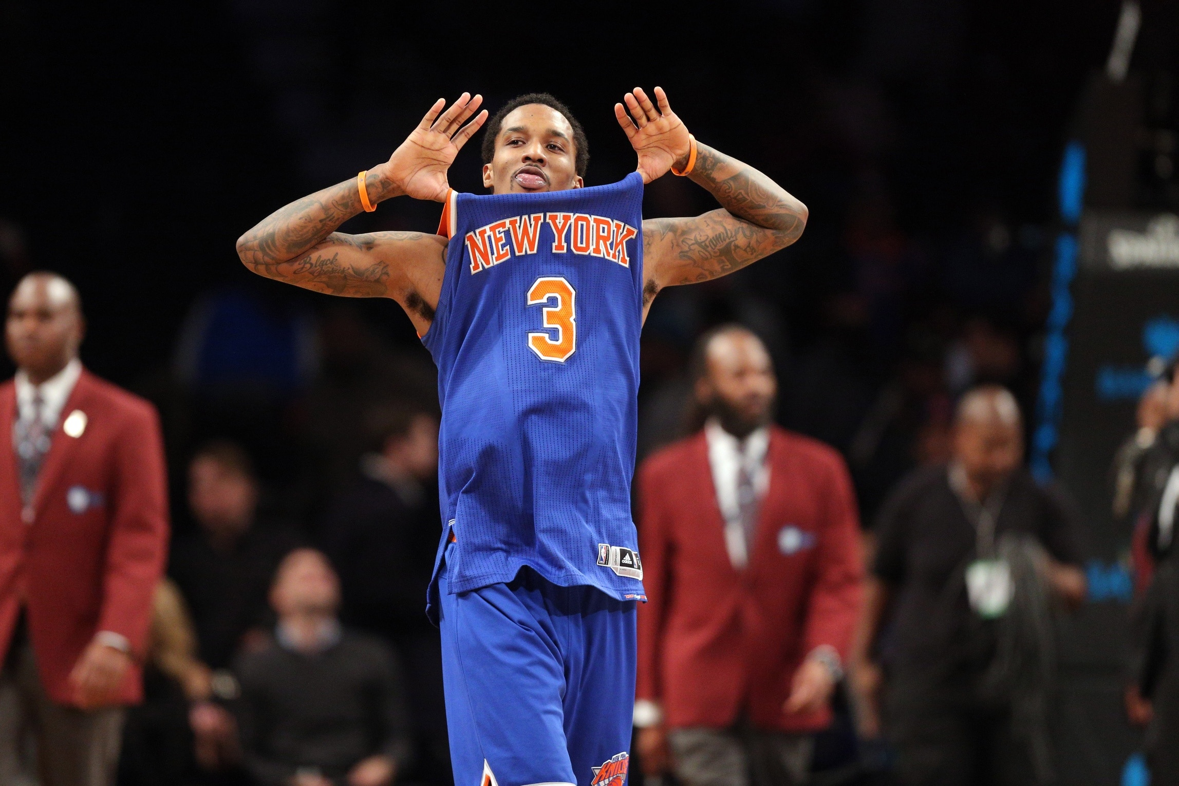 Caption: Feb 1, 2017; Brooklyn, NY, USA; New York Knicks point guard Brandon Jennings (3) reacts after defeating the Brooklyn Nets at Barclays Center. Mandatory Credit: Brad Penner-USA TODAY Sports