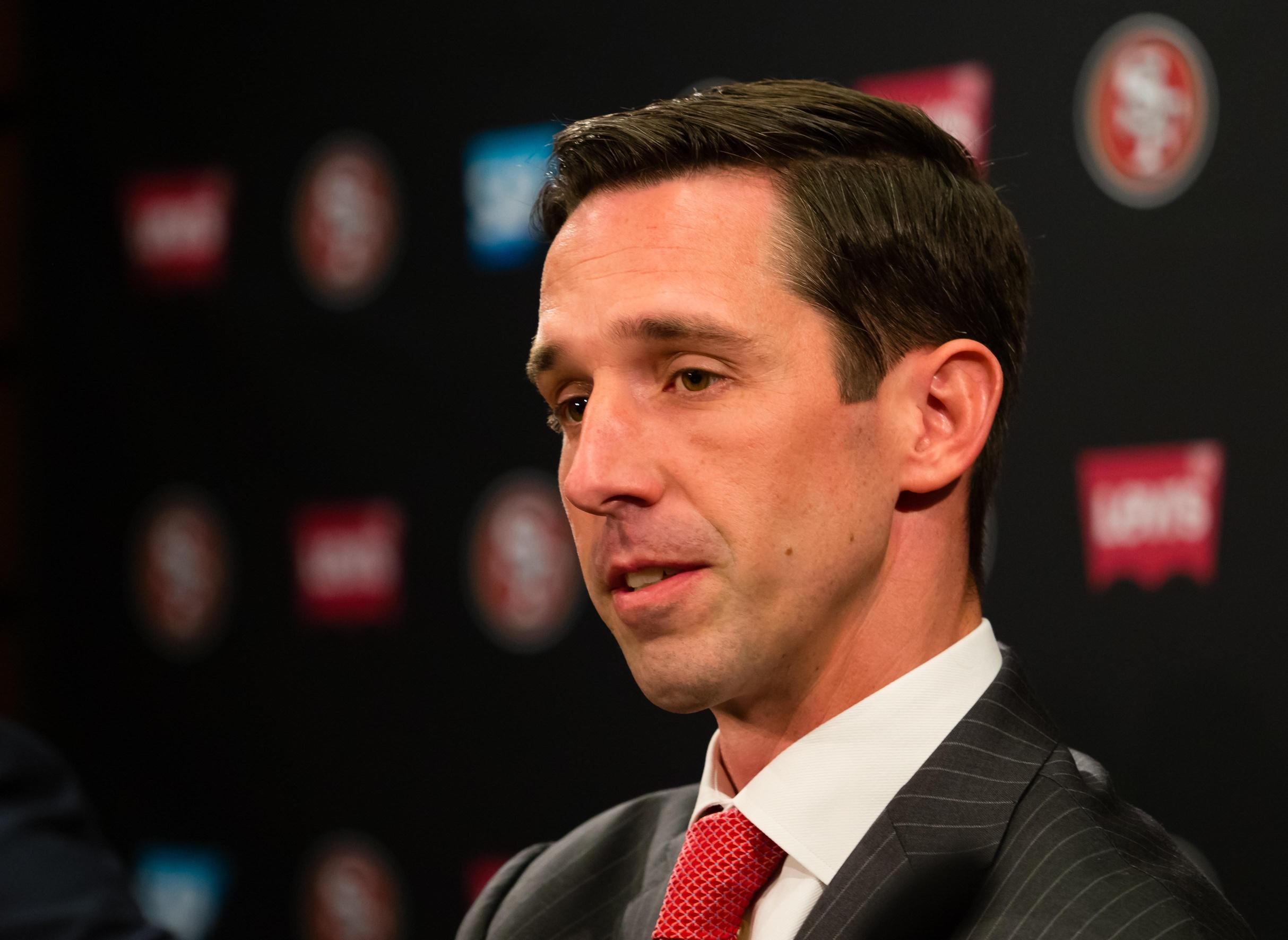 Feb 9, 2017; Santa Clara, CA, USA; San Francisco 49ers head coach Kyle Shanahan during a press conference at Levi's Stadium. Mandatory Credit: Kelley L Cox-USA TODAY Sports