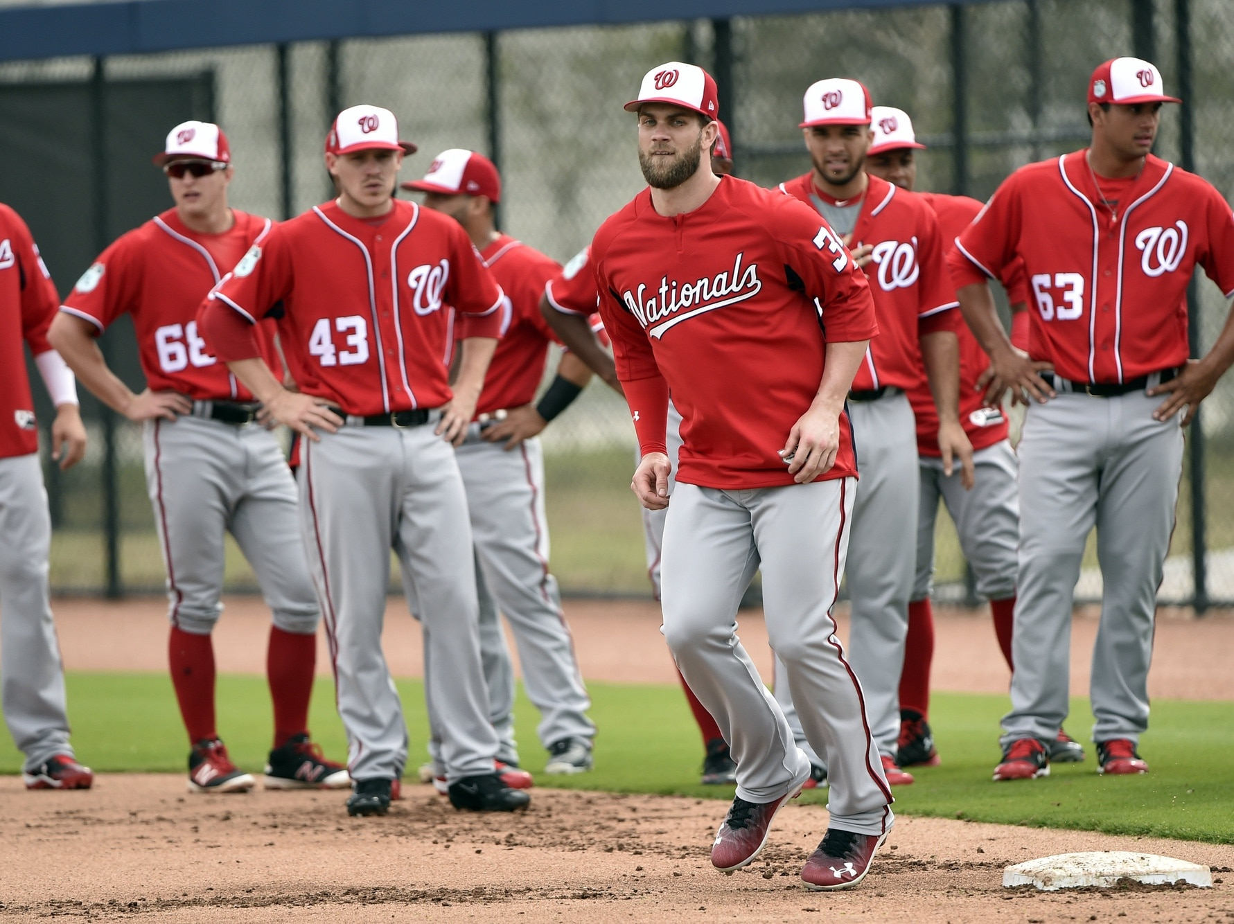 Feb 21, 2017; West Palm Beach, FL, USA; Washington Nationals right fielder Bryce Harper (34) works on running drills during spring training workouts at The Ballpark of the Palm Beaches. Mandatory Credit: Steve Mitchell-USA TODAY Sports
