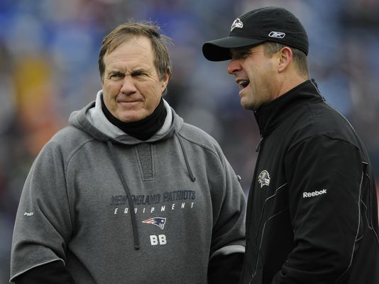 Ravens head coach John Harbaugh had some praise to throw the way of Patriots head coach Bill Belichick.