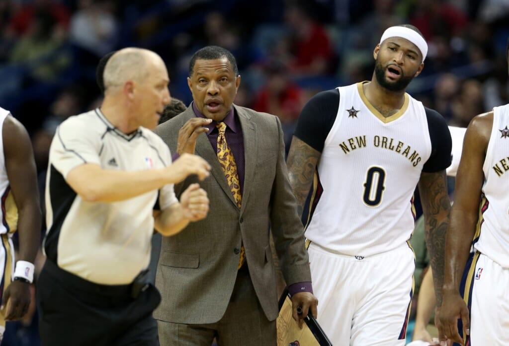 Caption: Mar 8, 2017; New Orleans, LA, USA; New Orleans Pelicans head coach Alvin Gentry and forward DeMarcus Cousins (0) talk to referee Ron Garretson (10) in the second quarter against the Toronto Raptors at the Smoothie King Center. Mandatory Credit: Chuck Cook-USA TODAY Sports Created: