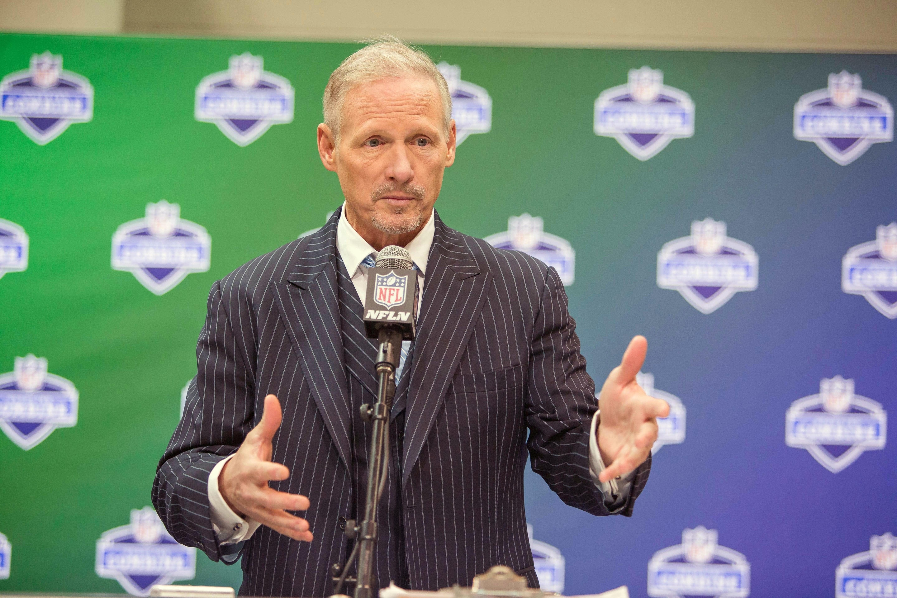 Mar 4, 2017; Indianapolis, IN, USA; NFL Media draft expert Mike Mayock speaks to the media during the 2017 combine at Indiana Convention Center. Mandatory Credit: Trevor Ruszkowski-USA TODAY Sports