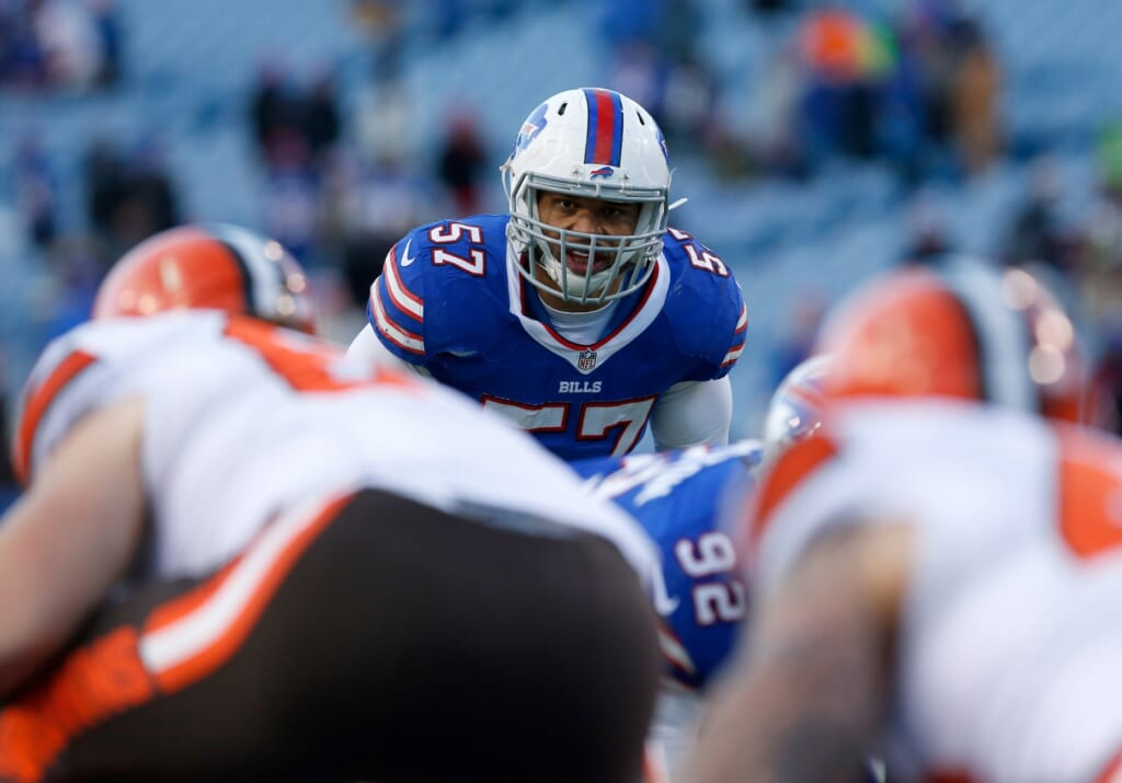 Dec 18, 2016; Orchard Park, NY, USA; Buffalo Bills outside linebacker Lorenzo Alexander (57) against the Cleveland Browns at New Era Field. Buffalo beats Cleveland 33 to 13. Mandatory Credit: Timothy T. Ludwig-USA TODAY Sports