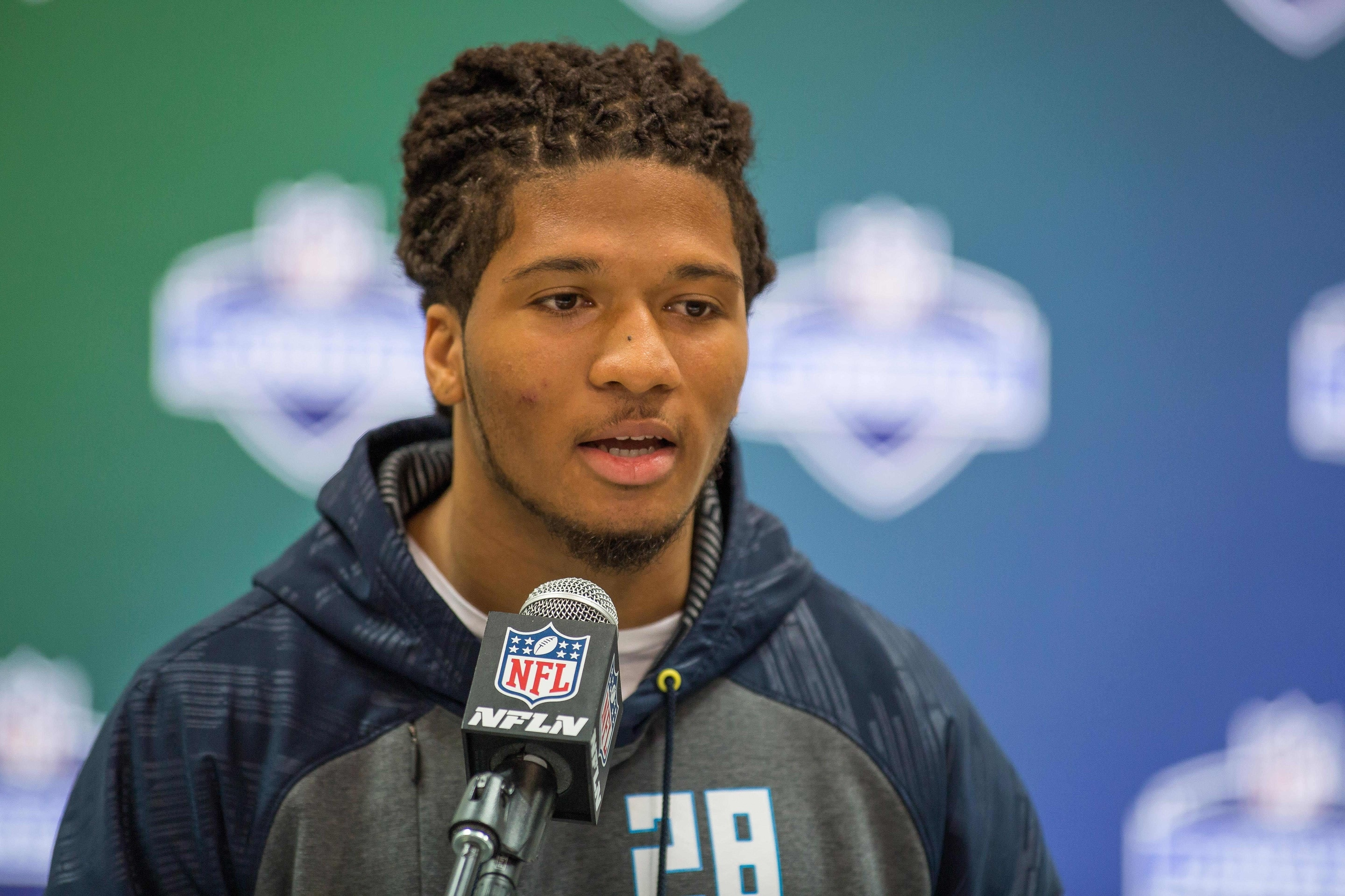 Mar 5, 2017; Indianapolis, IN, USA; Washington Huskies defensive back Sidney Jones speaks to the media during the 2017 combine at Indiana Convention Center. Mandatory Credit: Trevor Ruszkowski-USA TODAY Sports
