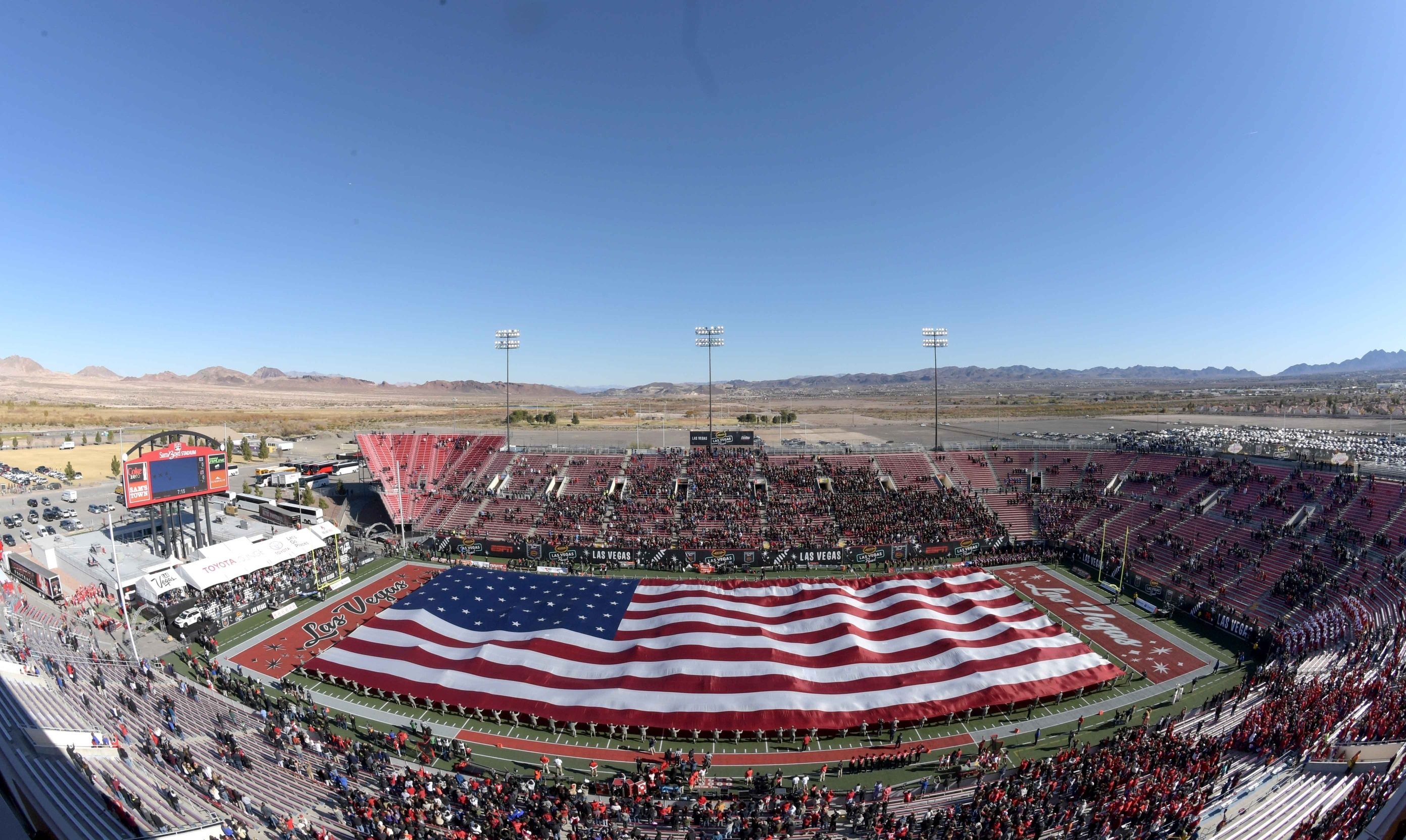 Dec 17, 2016; Las Vegas, NV, USA; A general view of a United States flag displayed at Sam Boyd Stadium during the national anthem prior to the 25th Las Vegas Bowl between the San Diego State Aztecs and the Houston Cougars. Mandatory Credit: Kirby Lee-USA TODAY Sports