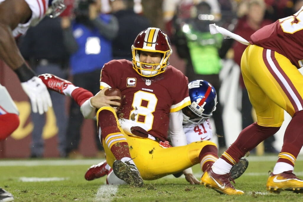 Caption: Jan 1, 2017; Landover, MD, USA; Washington Redskins quarterback Kirk Cousins (8) is sacked by New York Giants cornerback Dominique Rodgers-Cromartie (41) in the second quarter at FedEx Field. Mandatory Credit: Geoff Burke-USA TODAY Sports