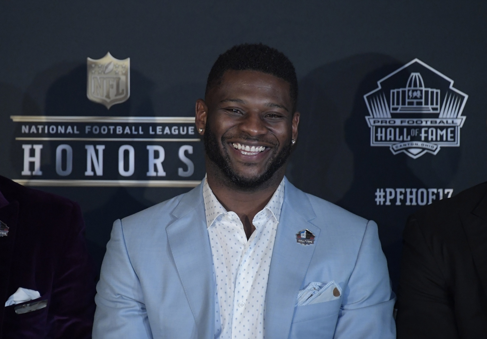 Caption: Feb 4, 2017; Houston, TX, USA; NFL former player LaDainian Tomlinson speaks with the media after being elected into the NFL Hall of Fame during the 6th Annual NFL Honors at Wortham Theater. Mandatory Credit: Kirby Lee-USA TODAY Sports